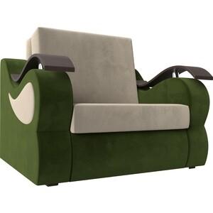 Прямой диван АртМебель Меркурий вельвет бежевый/зеленый(80)