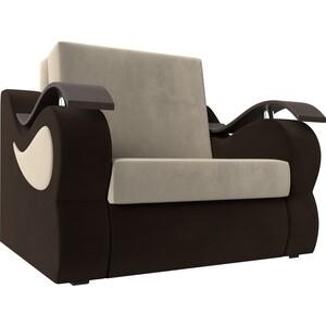 Прямой диван АртМебель Меркурий вельвет бежевый/коричневый (80) цена