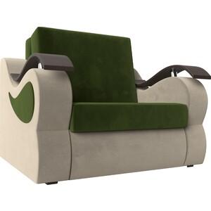 Прямой диван АртМебель Меркурий вельвет зеленый/бежевый (80)