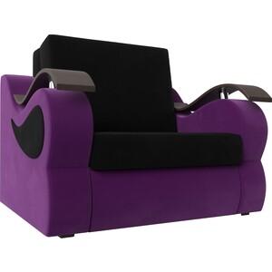 Прямой диван АртМебель Меркурий вельвет черный/фиолетовый (80)