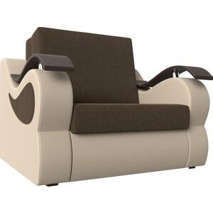 Прямой диван АртМебель Меркурий рогожка коричневый экокожа бежевый (80) цена
