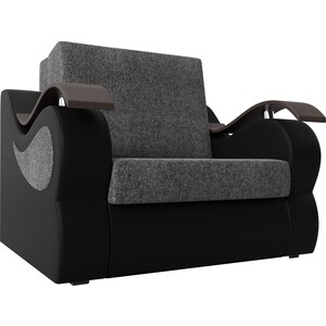 Прямой диван АртМебель Меркурий рогожка серый экокожа черный (80)