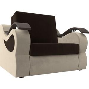 Прямой диван АртМебель Меркурий вельвет коричневый/бежевый (60)