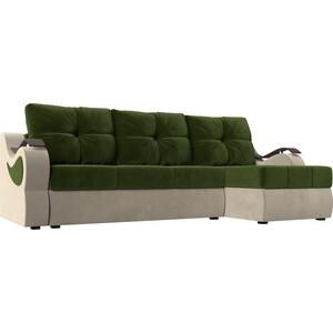 Угловой диван АртМебель Меркурий вельвет зеленый/бежевый правый угол