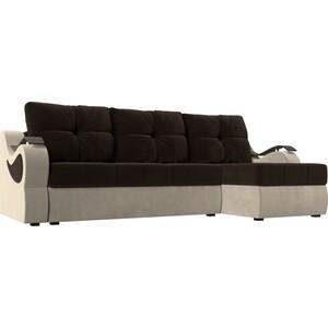 Угловой диван АртМебель Меркурий вельвет коричневый/бежевый правый угол