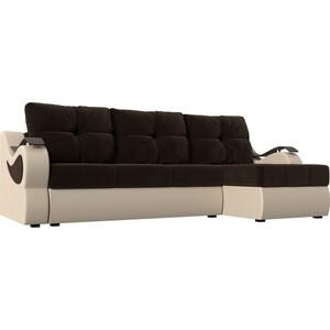 Угловой диван АртМебель Меркурий вельвет коричневый экокожа бежевый правый угол