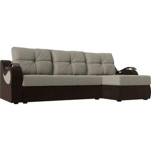 Угловой диван АртМебель Меркурий корфу 02 вельвет коричневый правый угол