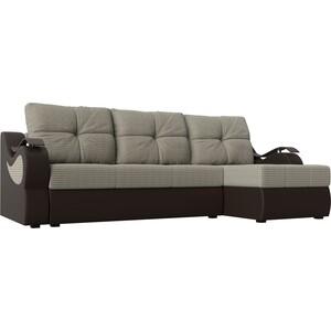 Угловой диван АртМебель Меркурий корфу 02 экокожа коричневый правый угол