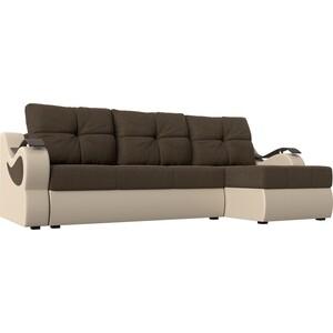 Угловой диван АртМебель Меркурий рогожка коричневый экокожа бежевый правый угол