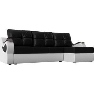 Угловой диван АртМебель Меркурий экокожа черный/белый правый угол