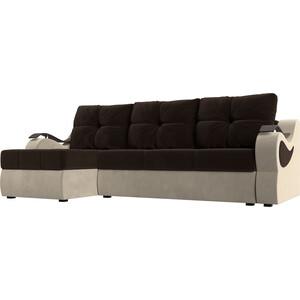 Угловой диван АртМебель Меркурий вельвет коричневый/бежевый левый угол