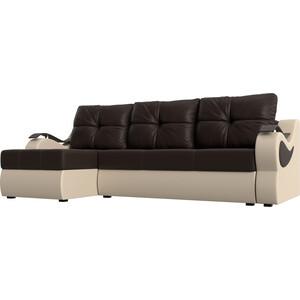 Угловой диван АртМебель Меркурий экокожа коричневый/бежевый левый угол