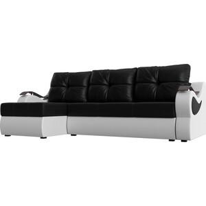 Угловой диван АртМебель Меркурий экокожа черный/белый левый угол