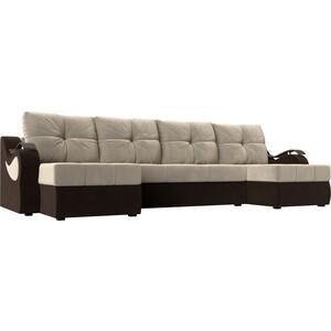 П-образный диван АртМебель Меркурий вельвет бежевый/коричневый