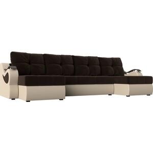 П-образный диван АртМебель Меркурий вельвет коричневый экокожа бежевый