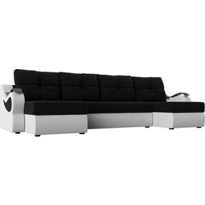 П-образный диван АртМебель Меркурий вельвет черный экокожа белый