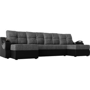 П-образный диван АртМебель Меркурий рогожка серый экокожа черный