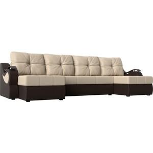 П-образный диван АртМебель Меркурий экокожа бежевый/коричневый