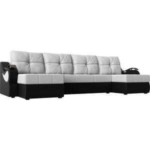 П-образный диван АртМебель Меркурий экокожа белый/черный