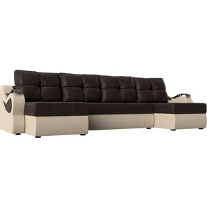 П-образный диван АртМебель Меркурий экокожа коричневый/бежевый
