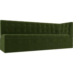 Кухонный угловой диван АртМебель Бриз вельвет зеленый правый угол