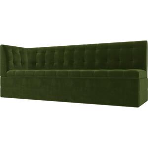 Кухонный угловой диван АртМебель Бриз вельвет зеленый левый угол