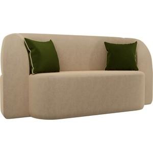 Детский прямой диван АртМебель Томас вельвет бежевый подушки зеленые