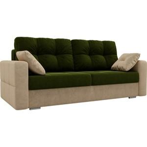 Прямой диван Лига Диванов Фьюжн вельвет зеленый/бежевый demarkt 392016401 фьюжн