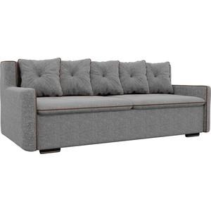 Прямой диван Лига Диванов Витаре рогожка серый окантовка коричневый